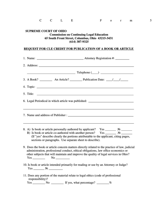 Form 5 - Request For Cle Credit For Publication Of A Book Or Article