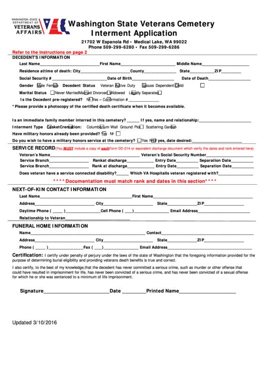Interment Application