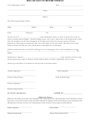Bill Of Sale On Motor Vehicle Form - Louisiana