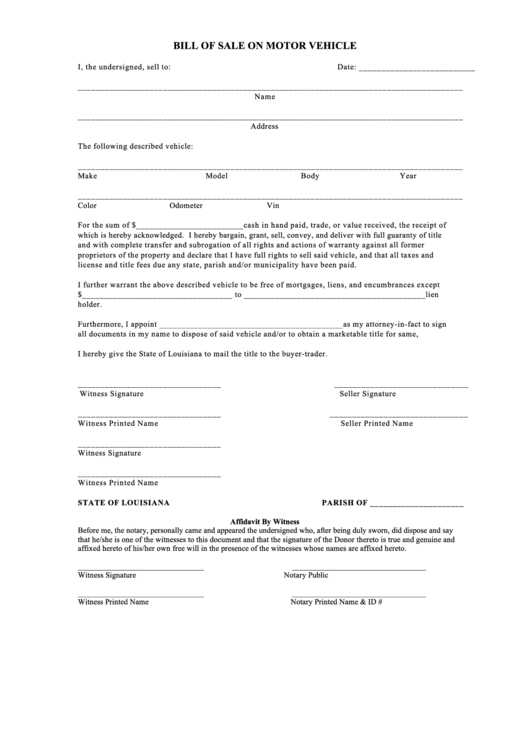5 dmv bill of sale form templates free to download in pdf for Louisiana motor vehicle bill of sale