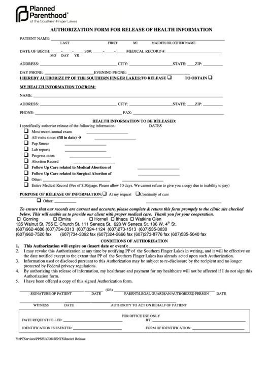 Authorization Form For Release Of Health Information Form - 2011 Printable pdf