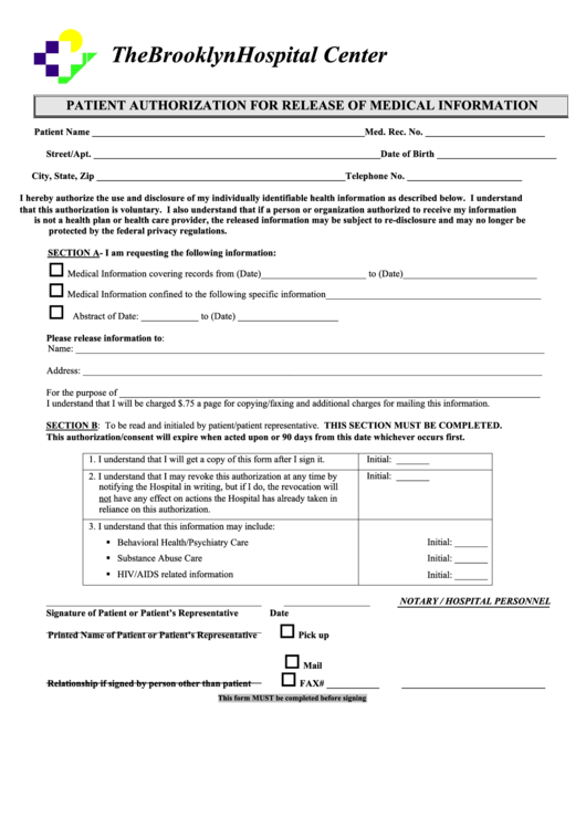 Patient Authorization For The Release Of Medical Information Form Printable pdf