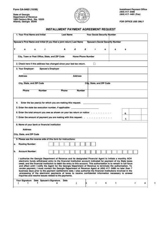 Form Ga-9465 - Installment Payment Agreement Request