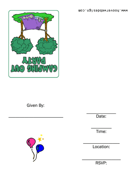 Camping Out Party Invitations Template Printable pdf
