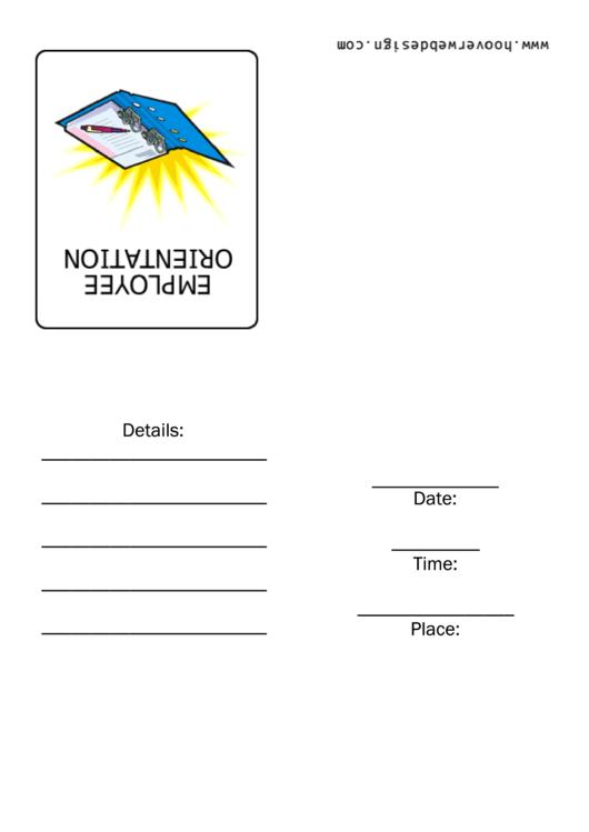 Employee Orientation Invitation Template Printable pdf