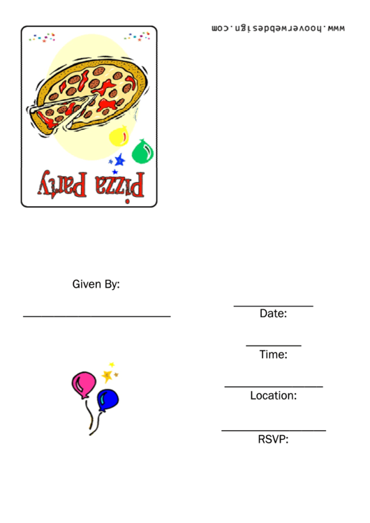 Pizza Party Initations Template Printable pdf