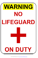 No Lifeguard On Duty Sign Template