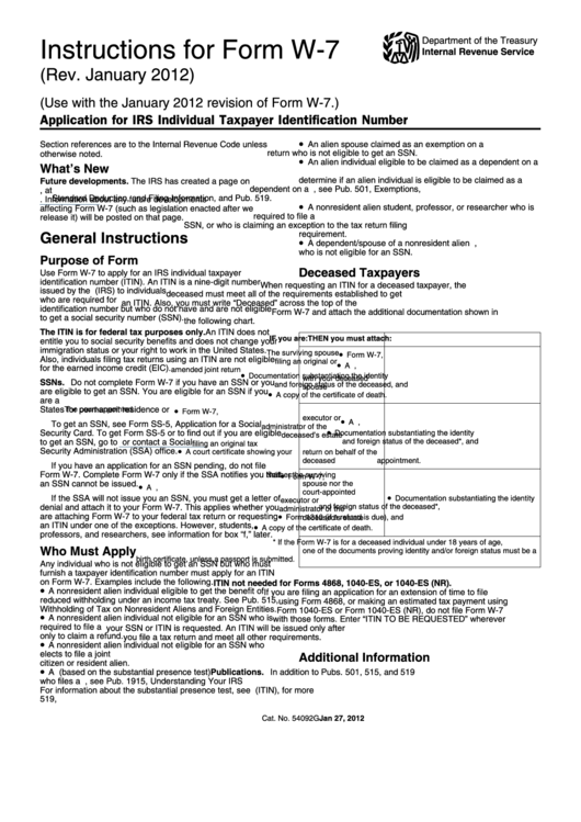 Instructions For Form W 7 Application For Irs Individual Taxpayer