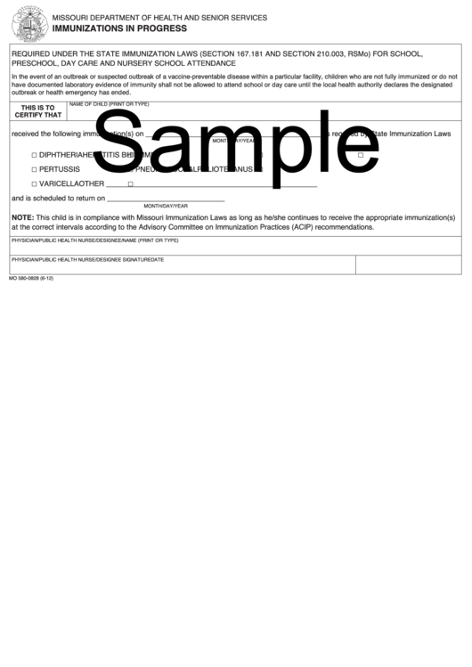 Form Mo 580 0828 Sample Immunizations In Progress Printable Pdf