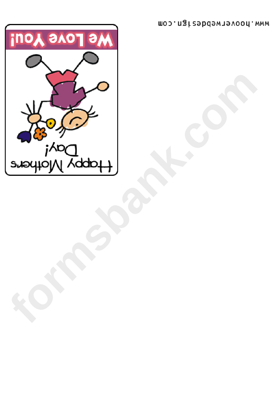 Stick Figure Happy Mothers Day Greeting Card Template