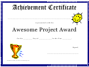 Awesome Project Award - Achievement Certificate Template