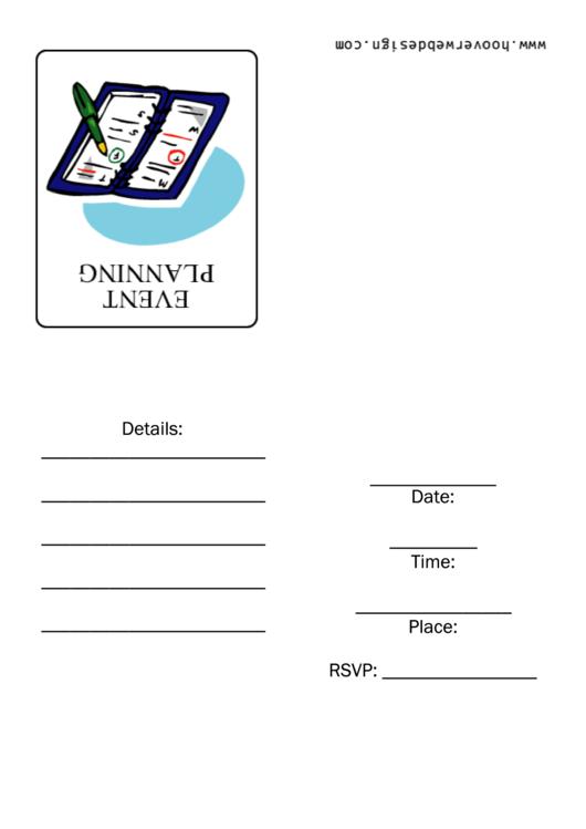 Event Planning Meeting - Invitation Template Printable pdf