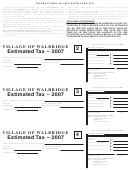Instructions To File Estimated Tax Template - Village Of Walbridge Department Of Taxation - 2007
