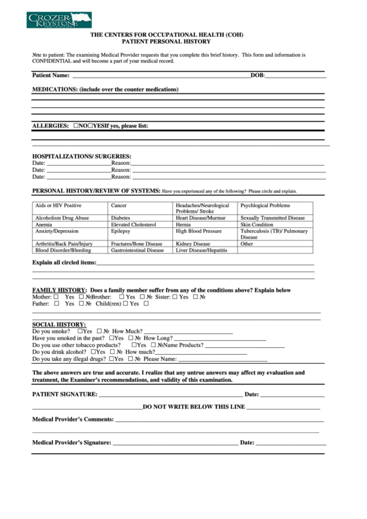patient personal history template printable pdf download