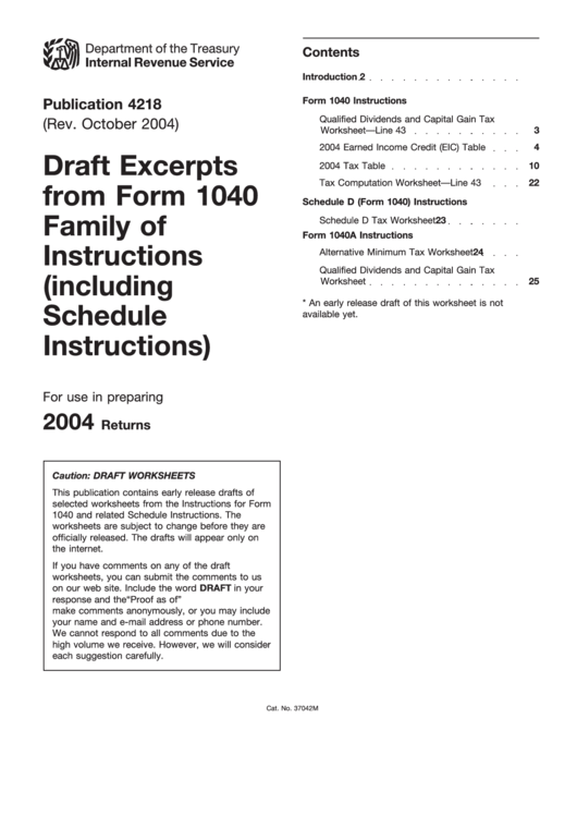 Draft Excerpts From Form 1040 Family Of Instructions (Including Schedule Instructions) Printable pdf