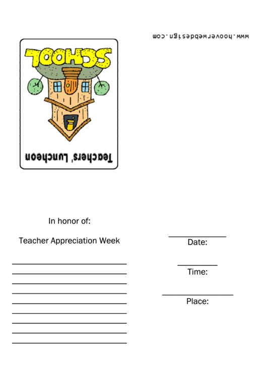 Teachers Luncheon Invitation Template Printable pdf