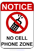 Notice No Cell Phone Zone Sign Template