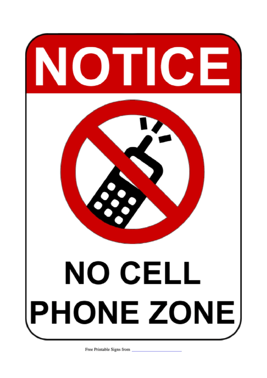 Notice No Cell Phone Zone Sign Template Printable pdf