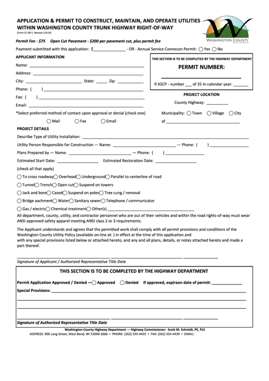 Form Cu-99-1 -application & Permit To Construct, Maintain, And Operate Utilities Within Washington County Trunk Highway Right-of-way