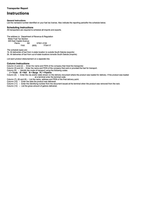 Instructions For Transporter Report Form Printable pdf