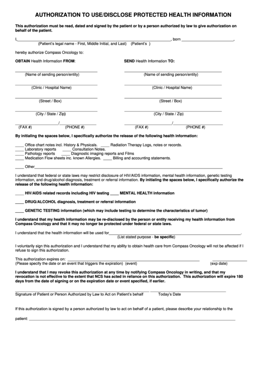 Authorization Form To Use/disclose Protected Health Information Printable pdf