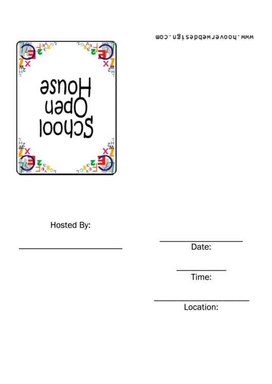 School Open House Invitation Template Printable pdf