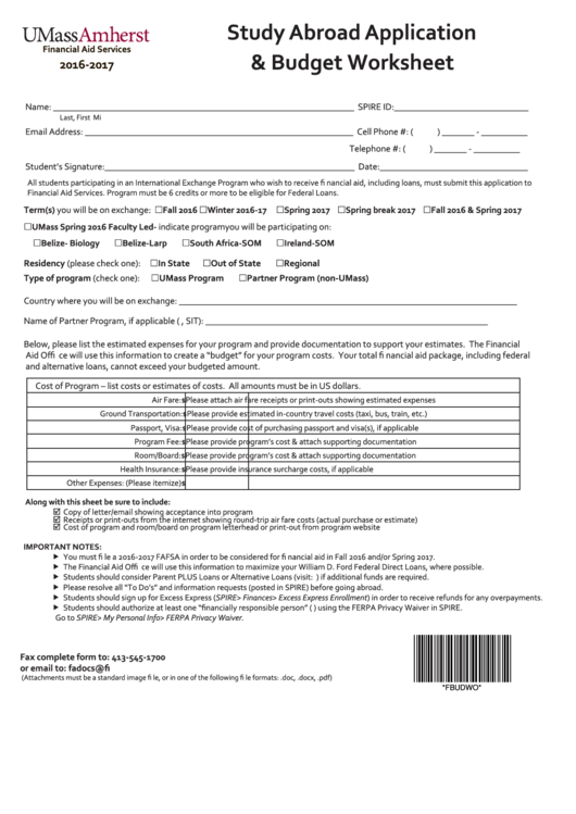 Study Abroad Application And Budget Worksheet