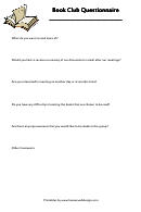 Book Club Questionnaire Template