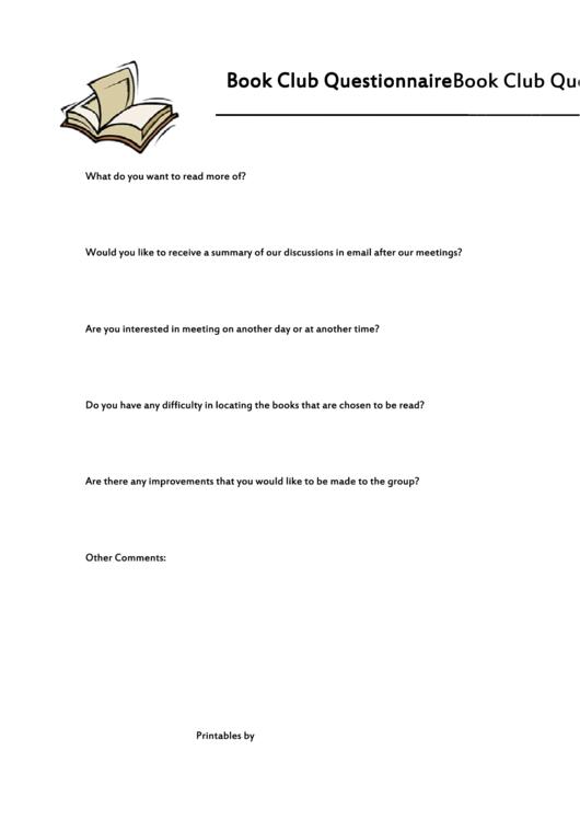 Book Club Questionnaire Template Printable pdf