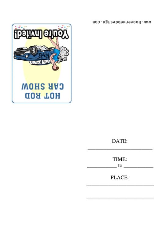 Hot Rod Car Show Invitation Template Printable pdf