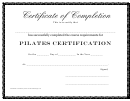 Certificate Of Completion - Pilates Certification Template