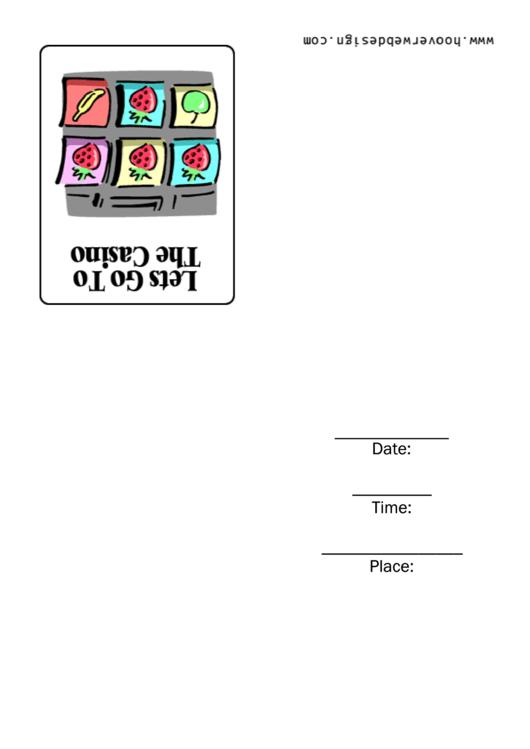 Casino Invitation Card Template Printable pdf