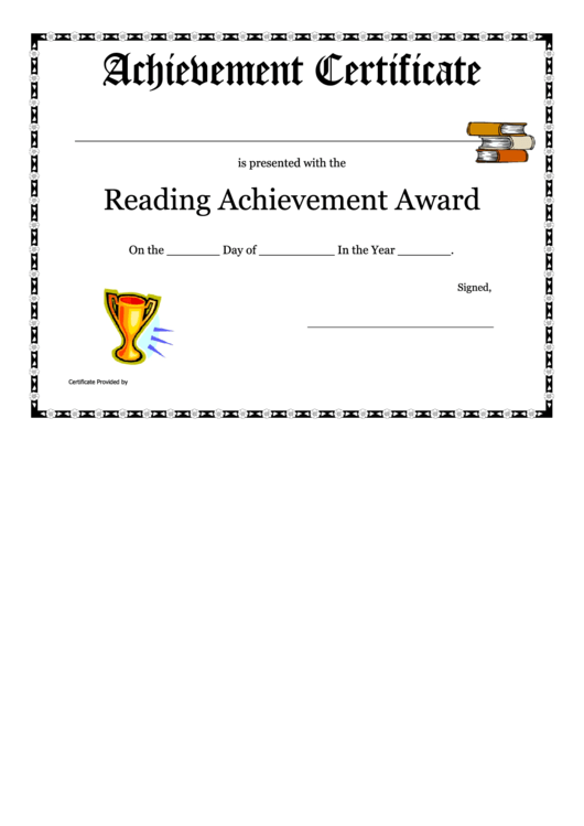 Reading Achievement Certificate Template