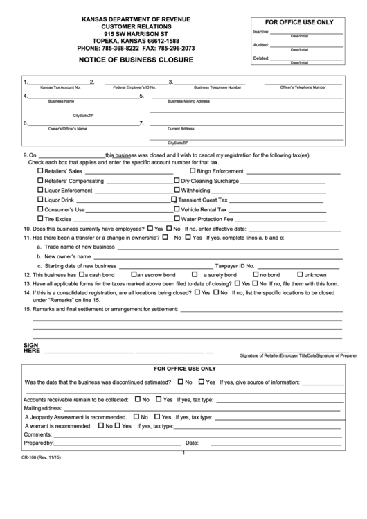 Fillable Form Cr 108 Notice Of Business Closure Form