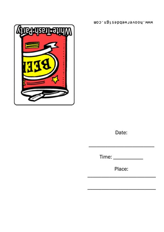 White Trash Party Invitation Template Printable pdf