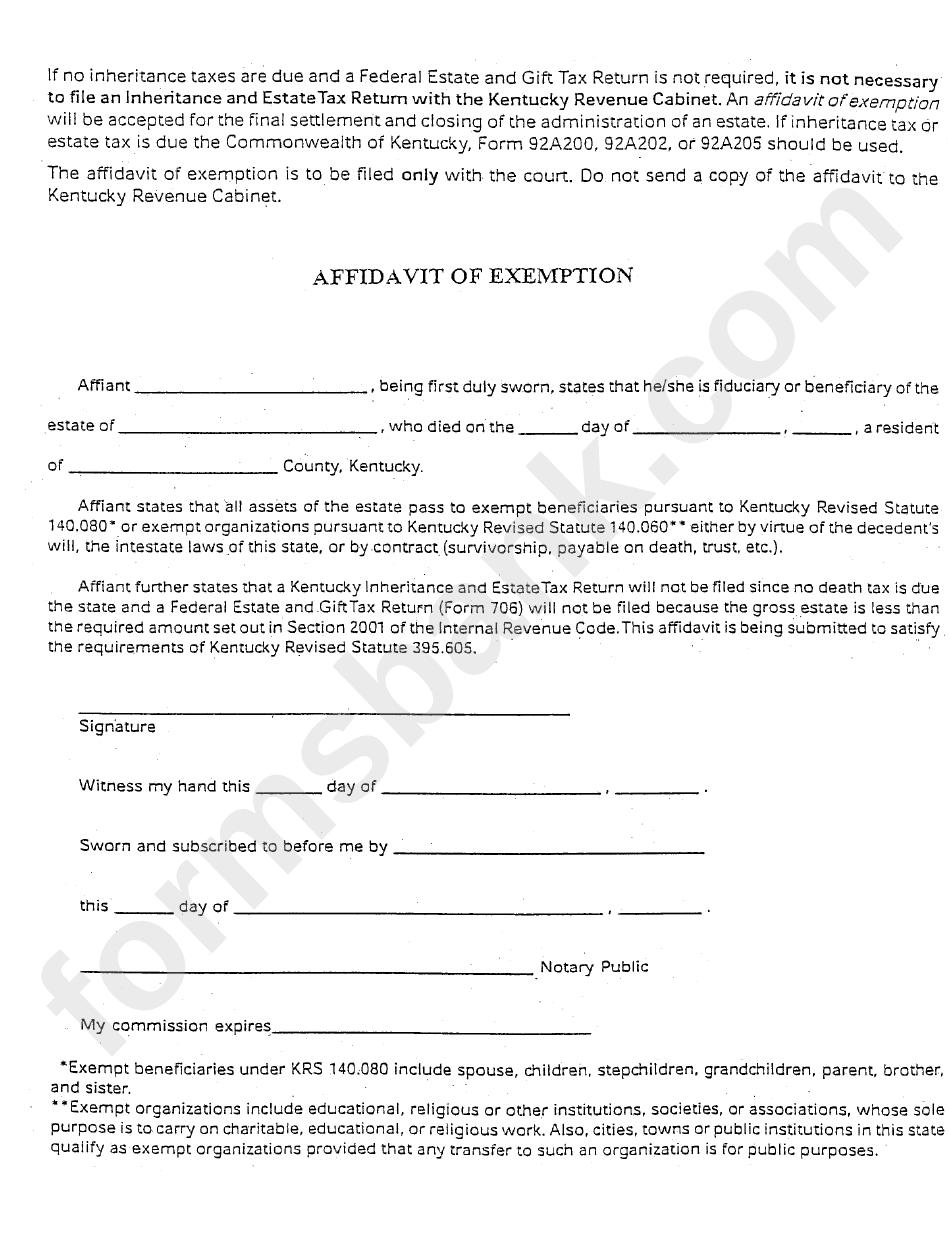 Affidavit Of Exemption Form - Kentucky Revenue Cabinet ...