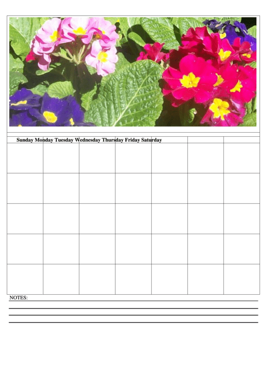 Floral Monthly Calendar Template