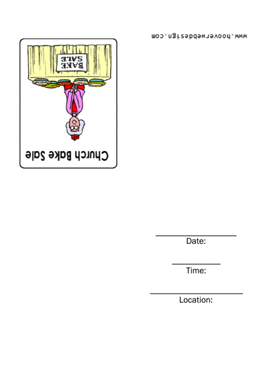 Church Bake Sale Invitation Template Printable pdf