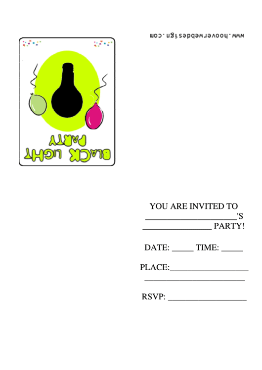 Black Light Party Invitation Template Printable pdf