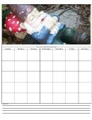 Sleeping Gnome Blank Monthly Calendar Template