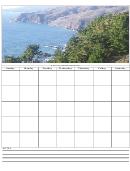 Shoreline View Blank Monthly Calendar Template
