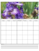 Flowers Blank Monthly Calendar Template