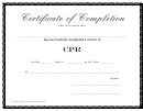 Certificate Of Completion - Cpr - Printable Template
