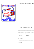 Drivers License Party Invitation Card Template