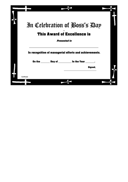 Bosses Day Award Of Excellence - Church Frame Certificate Template Printable pdf