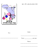 Periwinkle Cat With A Hat - Birthday Party Invitation Card Template