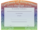 English Certificate Of Achievement Template