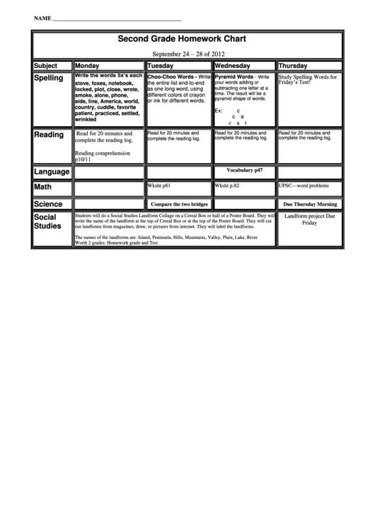 Second Grade Homework Chart Template (sample)