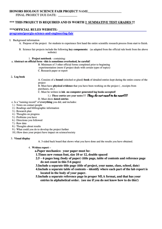 Honors Biology Science Fair Project Printable pdf