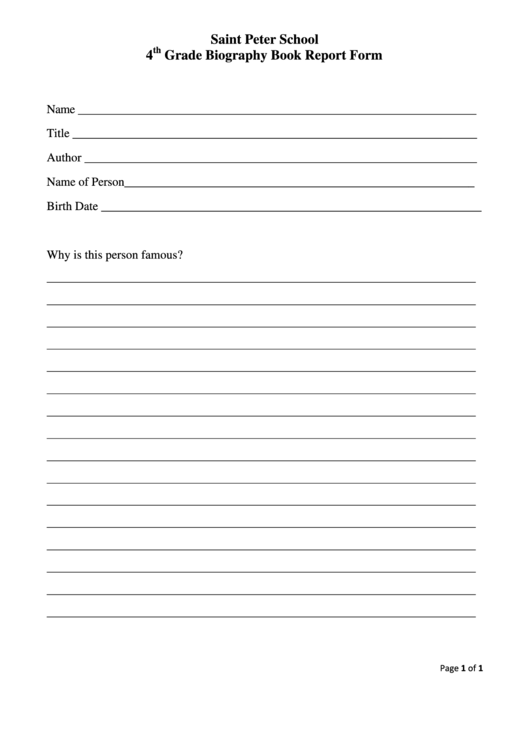 Top 4th Grade Book Report Templates Free To Download In Pdf Format